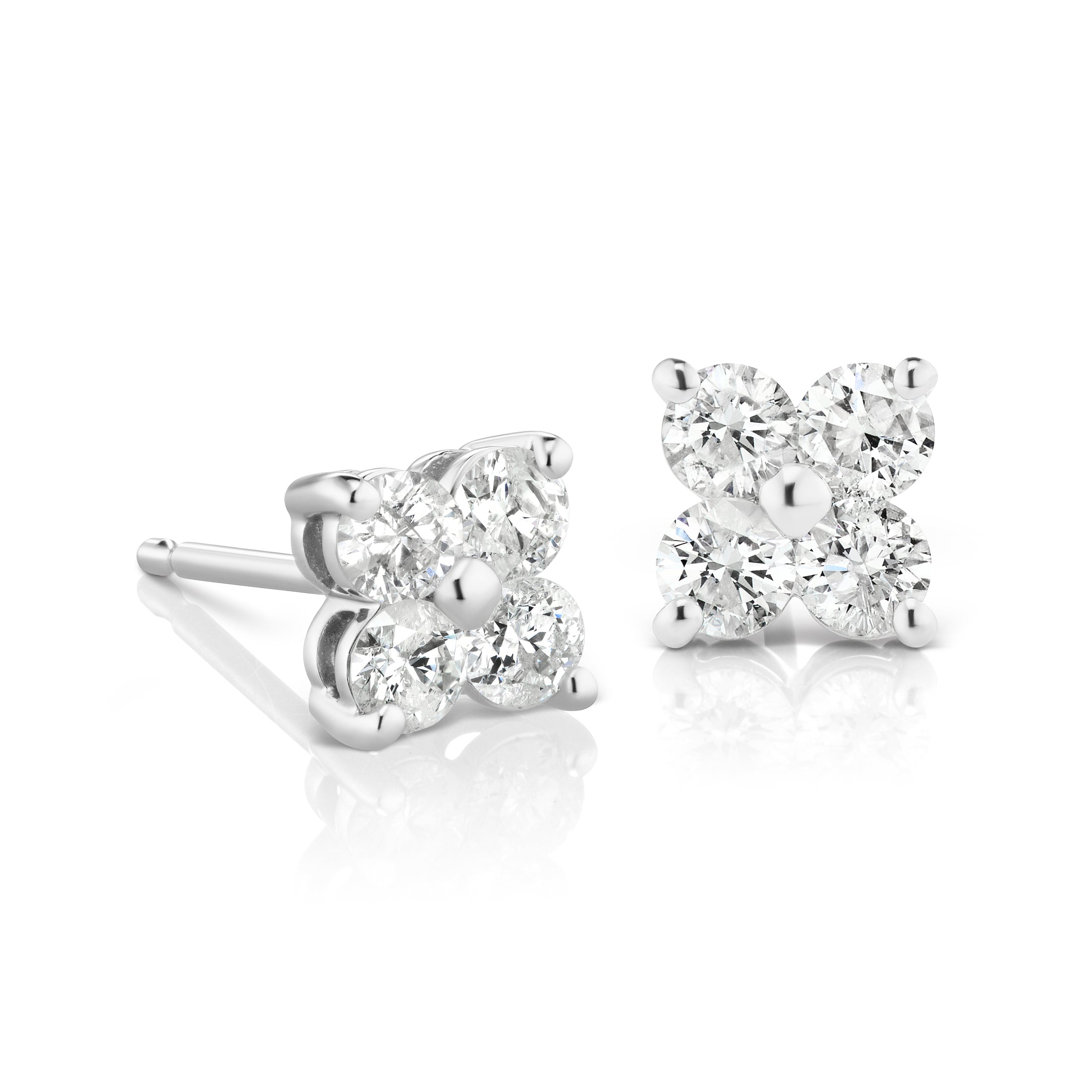 diamond cluster product house gold white earrings rounded stud square