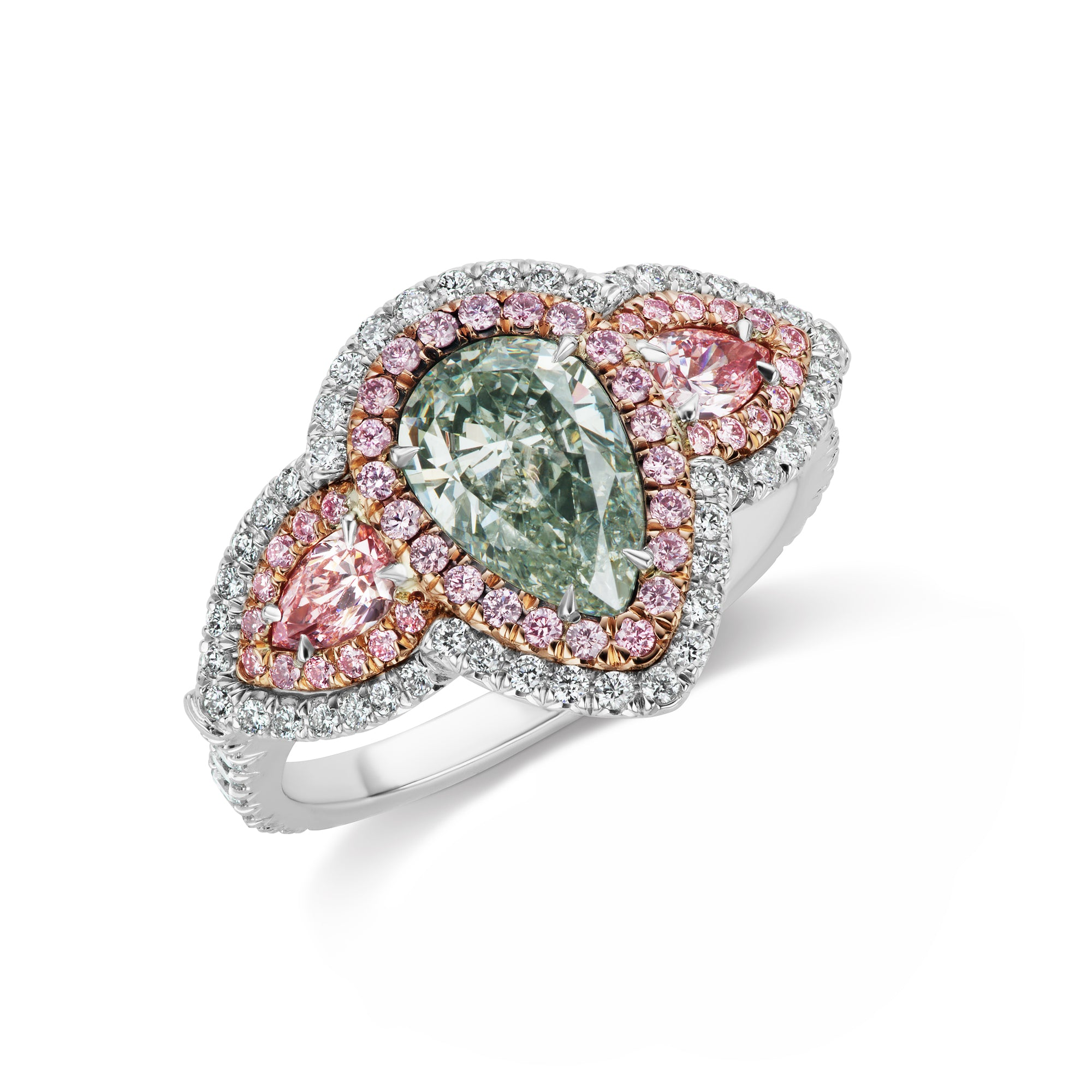 in estate side diamond with pear rings baguette diamonds platinum tw shaped ring