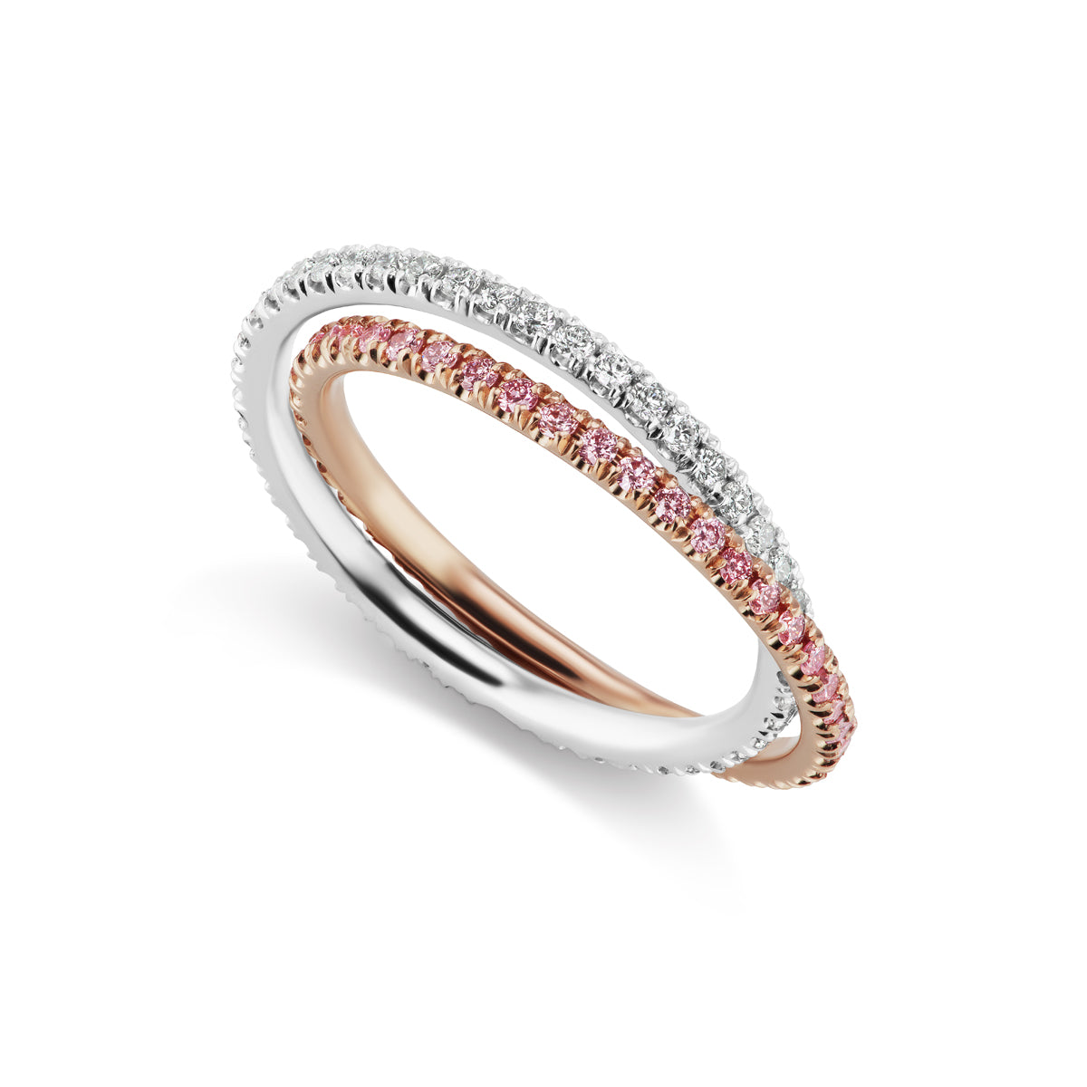 Barmakian Pink And White Diamond Rolling Eternity Ring Barmakian