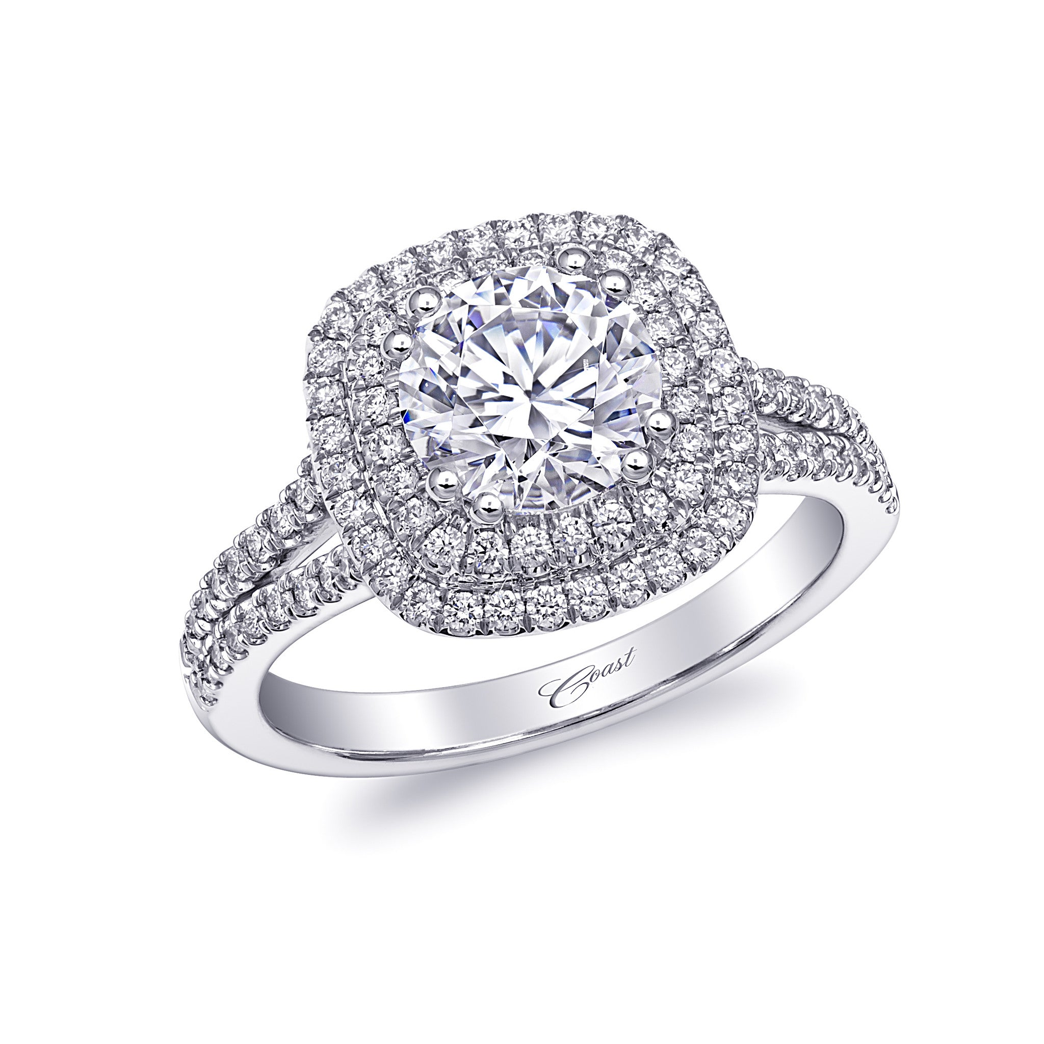 featuring banner of gabriel overall setting and engagement accent ring two shine co wedding double that rings magnifies the rows intensely stone frame center diamonds halo