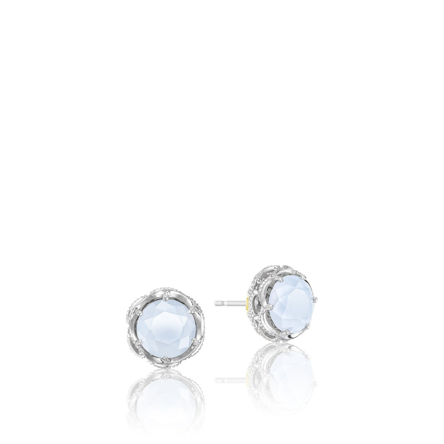 Tacori Crescent Crown Studs featuring Chalcedony