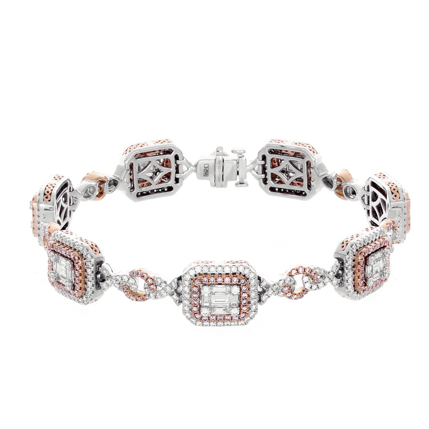 cut cubic pink cz inch ct bracelet princess cc zirconia sparkling itm new diamond tennis