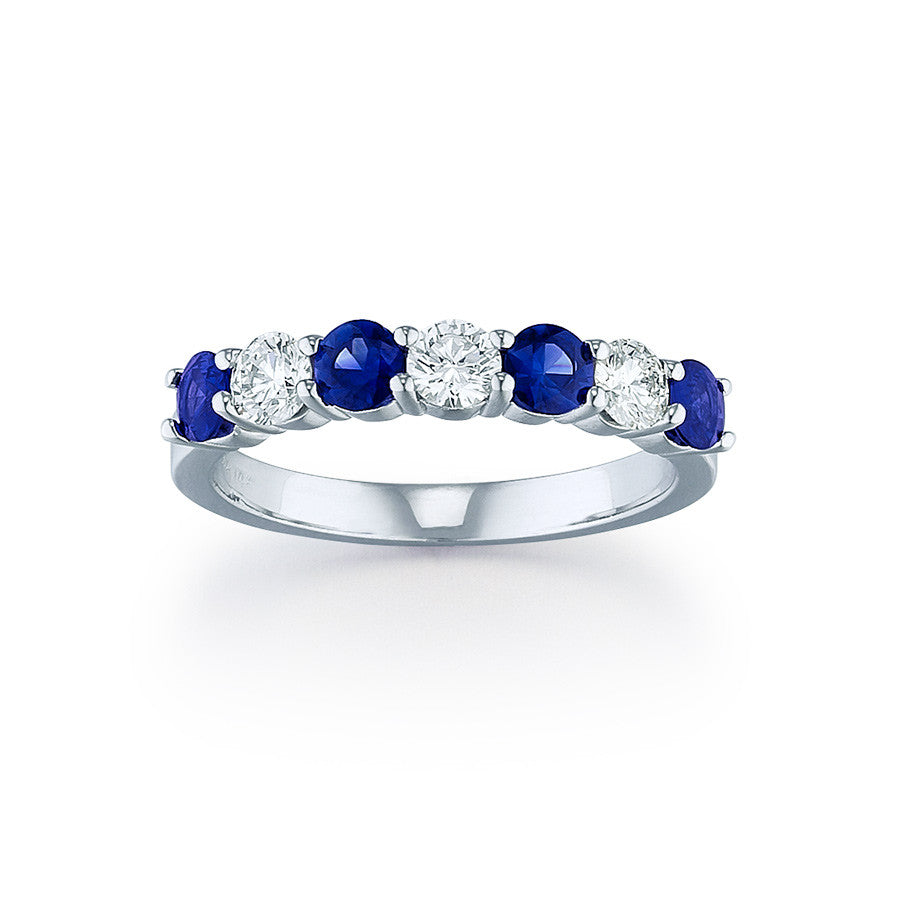 half bands ring white gold wedding marquise sapphire of anniversary lord blue products band eternity