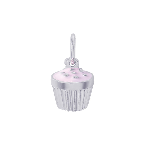 Sterling Silver Cupcake with Pink Icing Charm