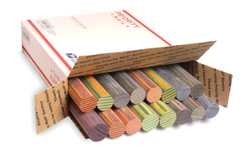 Spectraply Assorted Dowel Box - Cousineau Wood Products, CWP-USA.com, DymaLux,  Spectraply, Turning blanks, Pepper Mill, Diamond Wood, Webb Wood, laminated wood