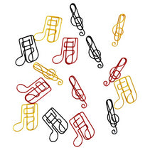 Paper Clips: 15 Treble Clef/Music Note Shapes - Assorted Colours
