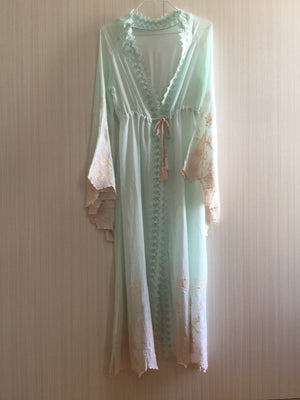 """Alice"" MINT/PINK long embroidered Robe - Frances Smily"