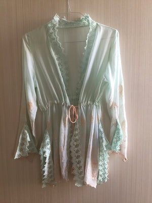 """Alice"" MINT/PINK short embroidered Robe - Frances Smily"