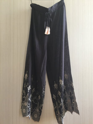 """Chloe"" BLACK/PINK cotton voile PJ Pants"