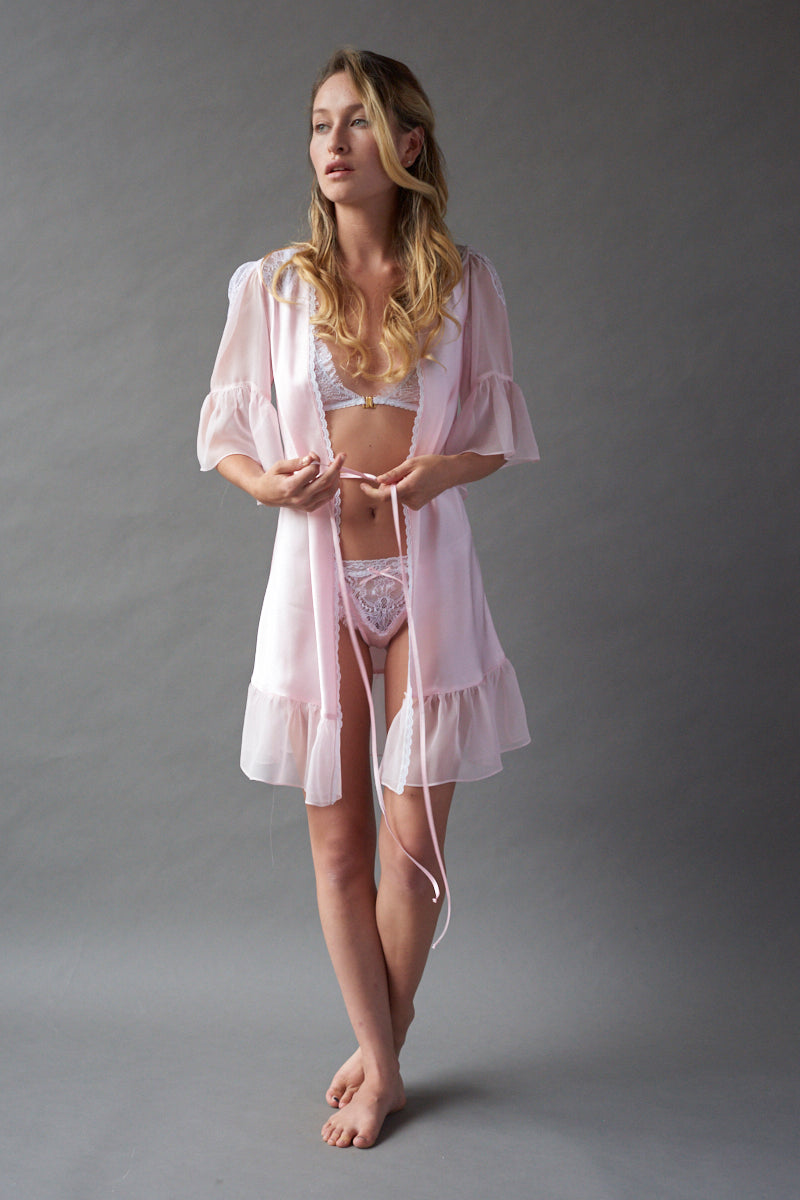Pink Ice Silk Robe - Frances Smily