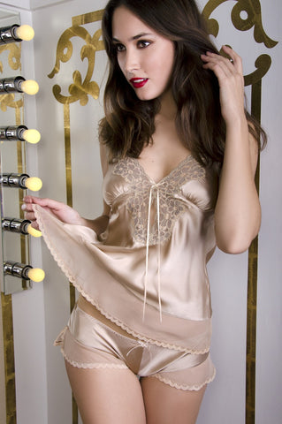 Gold Champagne Camisole & Tap Pants