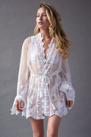 embroidered dot tulle kimono by Frances Smily Coututre