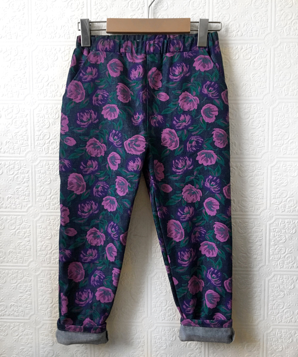 Floral denim pocket pants