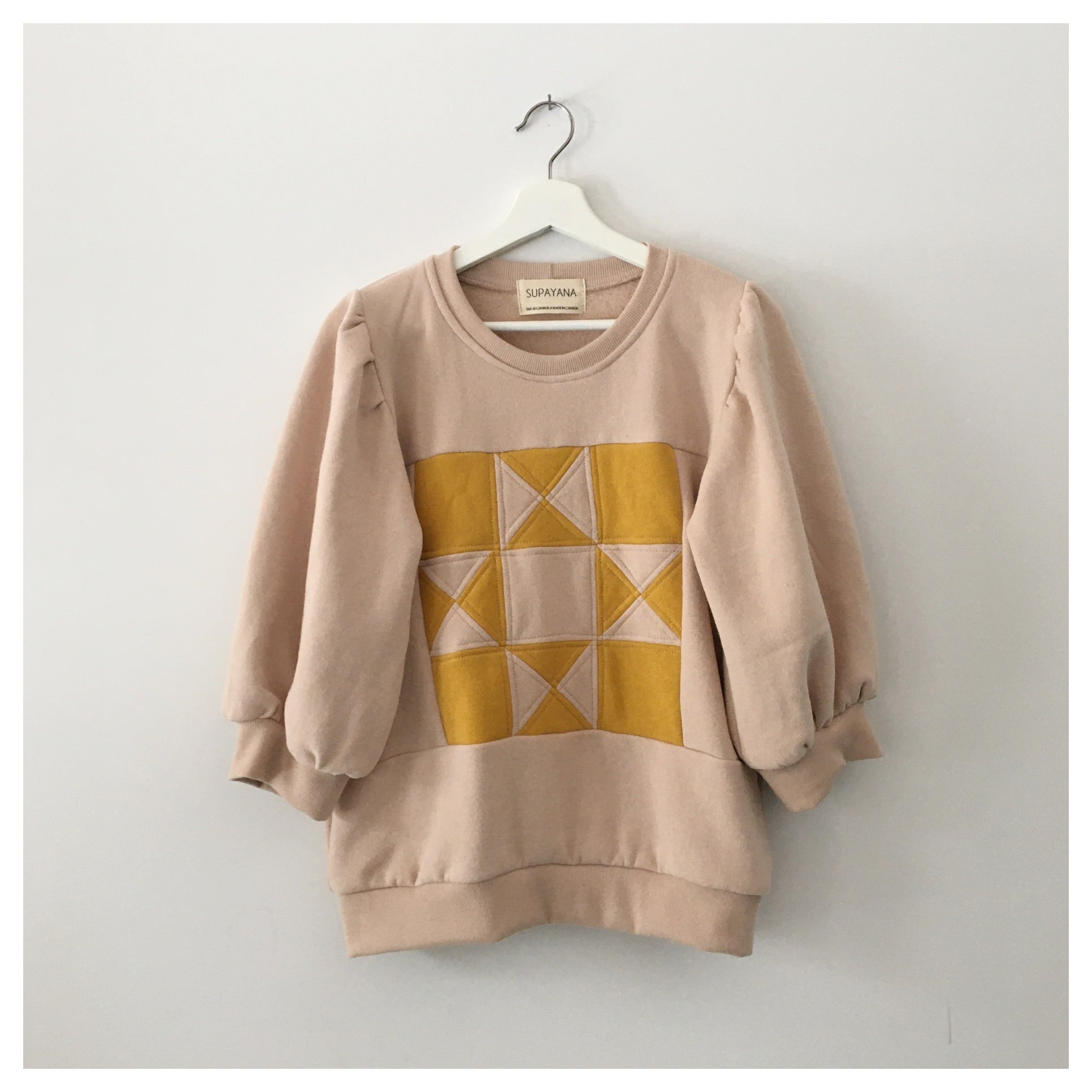 Pink salt & mustard - QUILT sweatshirt - Made to Order - Sel rose & moutarde