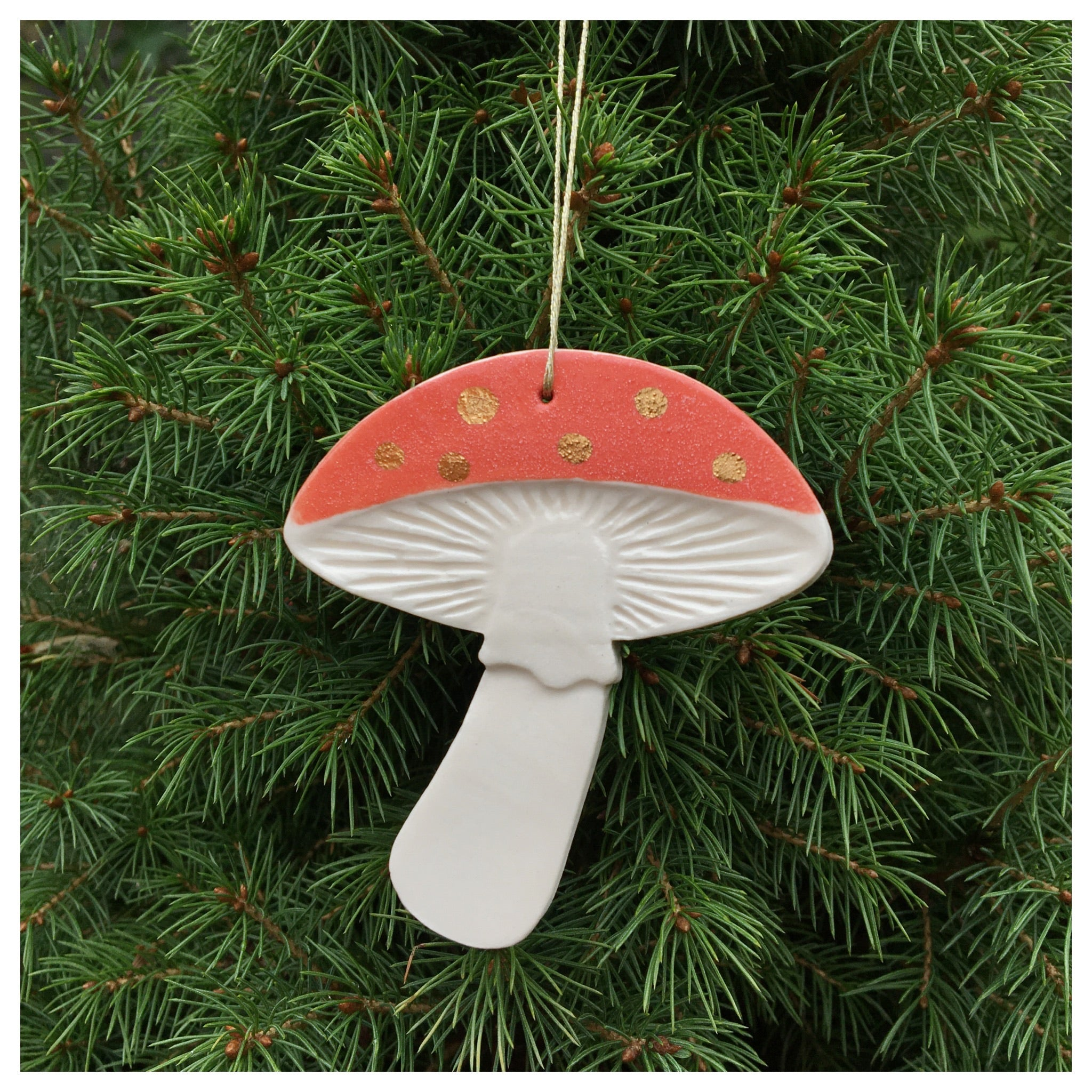Handmade ceramic mushroom ornament- gold dots
