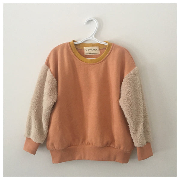 Peach & fluffy sleeve sweatshirt