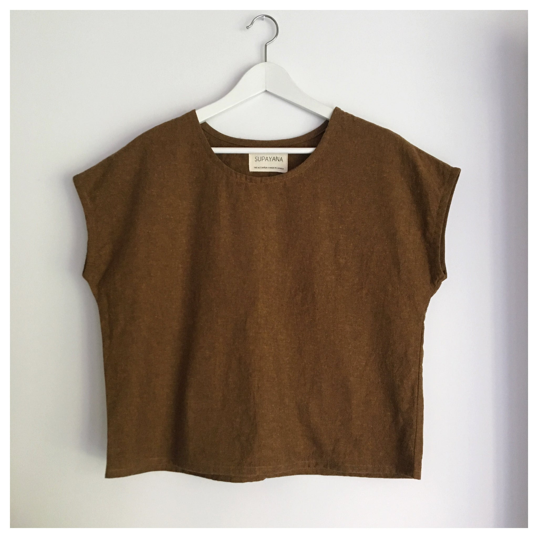 Rust linen cotton top