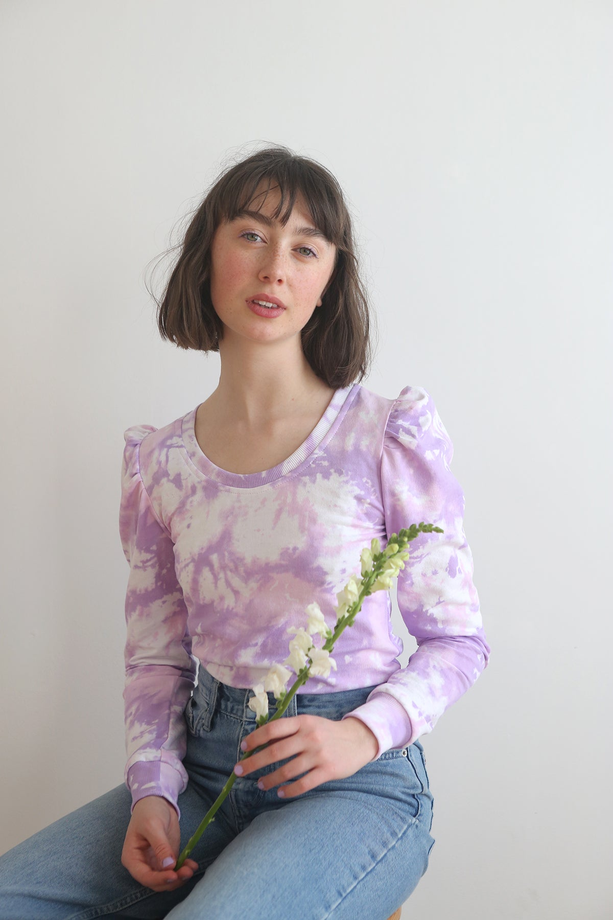 Lavender tie dye puff sleeve top (Fait sur commande/ Made to order)
