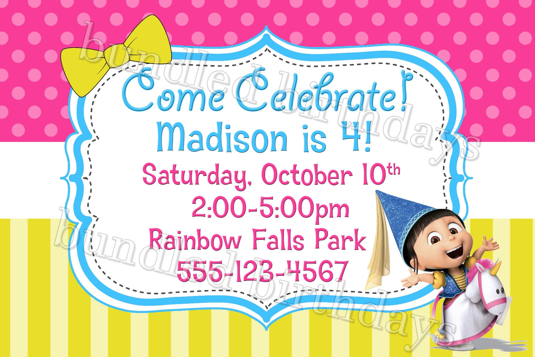 Dispicable Me Agnes Birthday Invitation Digital Download Twistin - Birthday invitation images download