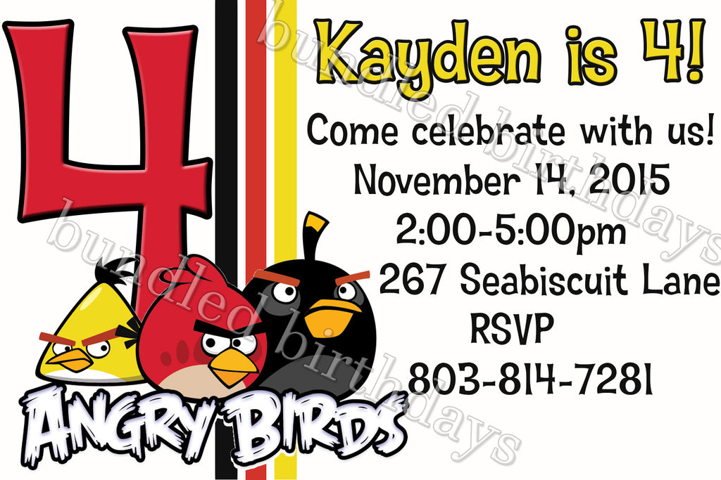 Angry Birds Birthday Invitation Digital Download