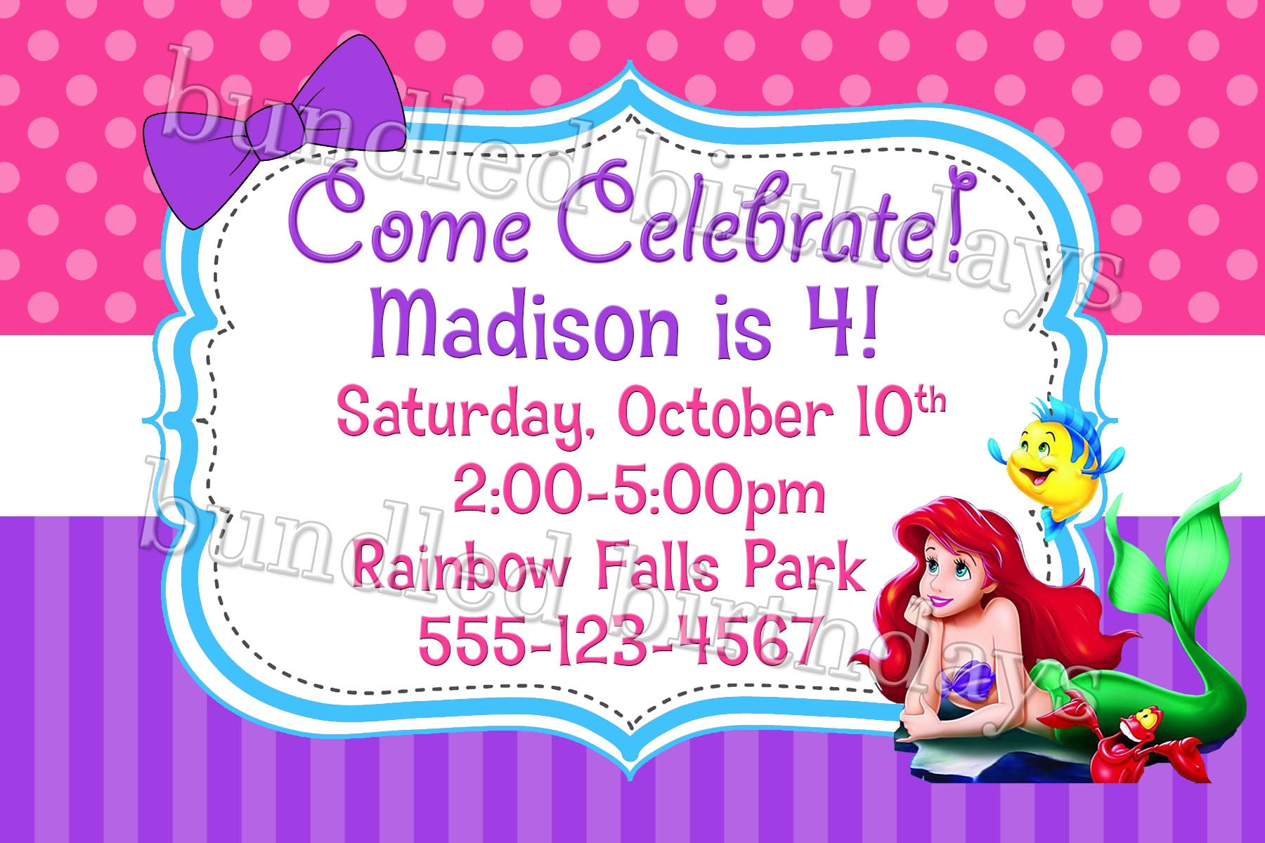 Ariel little mermaid birthday invitation digital download twistin ariel little mermaid birthday invitation digital download filmwisefo