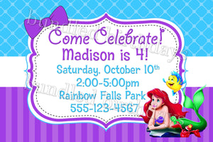 Ariel Little Mermaid Birthday Invitation Digital Download