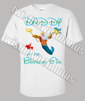 Little Mermaid Dad Birthday Shirt