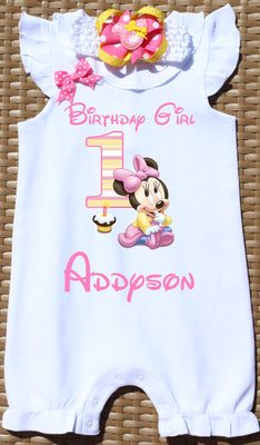 Baby Minnie Mouse First Birthday Romper