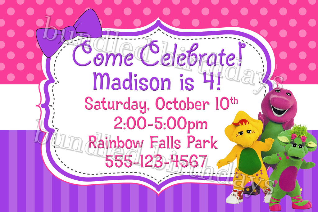 Barney Birthday Invitation Digital Download