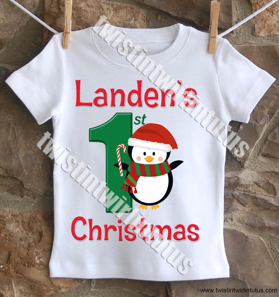 Boys First Christmas Shirt Penguin