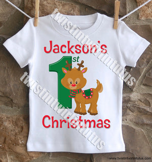 Boys First Christmas Shirt Reindeer