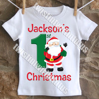 Boys First Christmas Shirt Santa