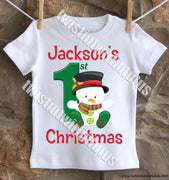 Boys First Christmas Shirt Snowman