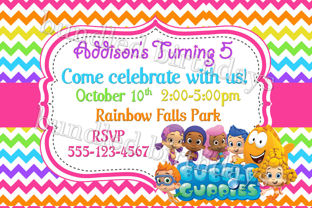 Bubble Guppies Birthday Invitation Digital Download