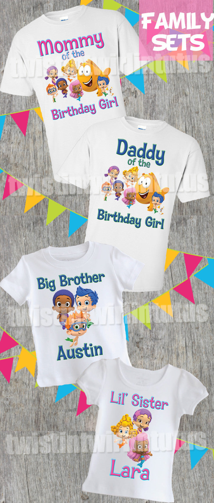 Bubble Guppies Family Birthday Shirts