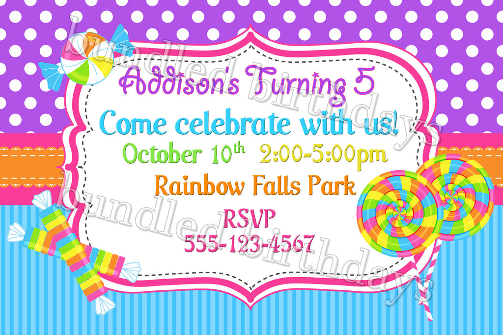 Candyland Candy Shop Birthday Invitation Digital Download