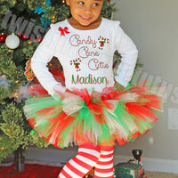 Girls Christmas Tutu Outfit Candy Cane Cutie
