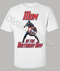Adult Captain America Mom Dad Birthday Shirt
