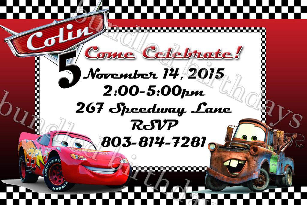 Cars Birthday Invitation Digital Download
