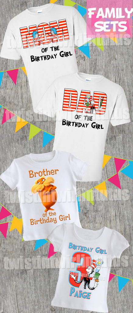 Cat in the Hat Birthday Shirt Family Set