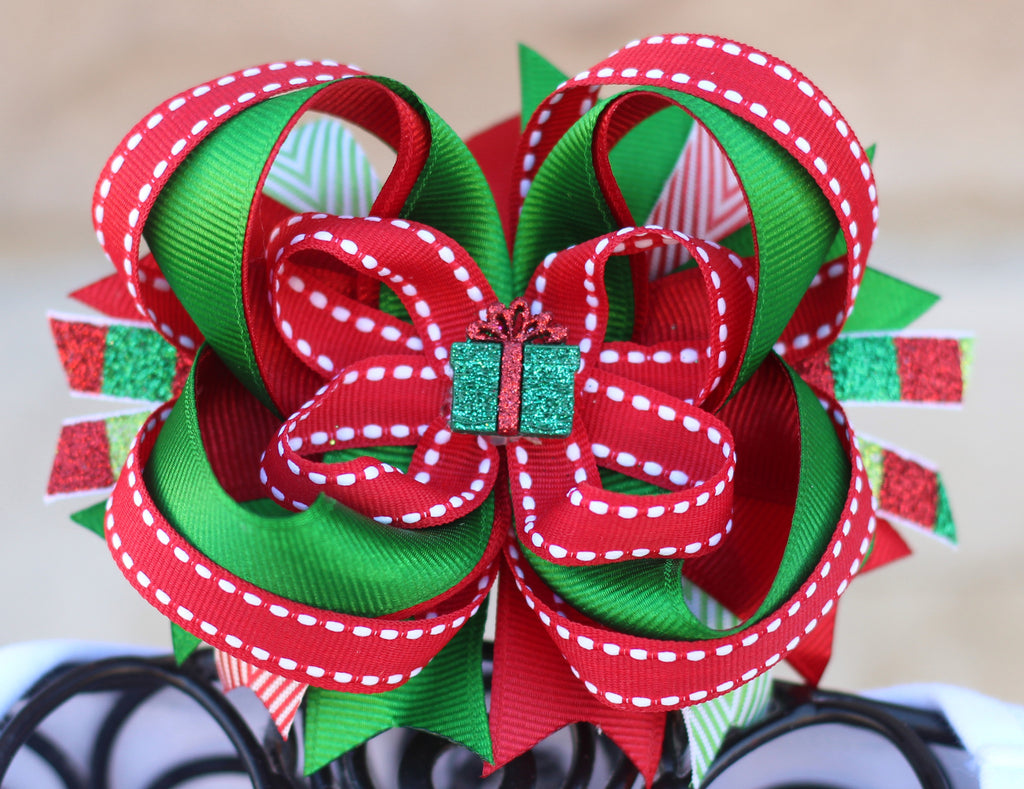 Christmas Hair Bow Stacked Boutique Bow