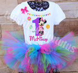 Colorful Minnie Mouse Birthday Tutu Outfit