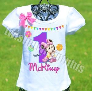 Rainbow Minnie Mouse Birthday Shirt