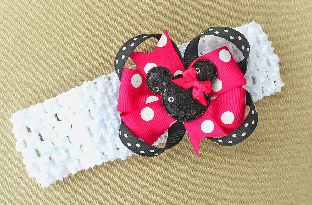 Bright Pink Minnie Mouse Hair Bow Headband