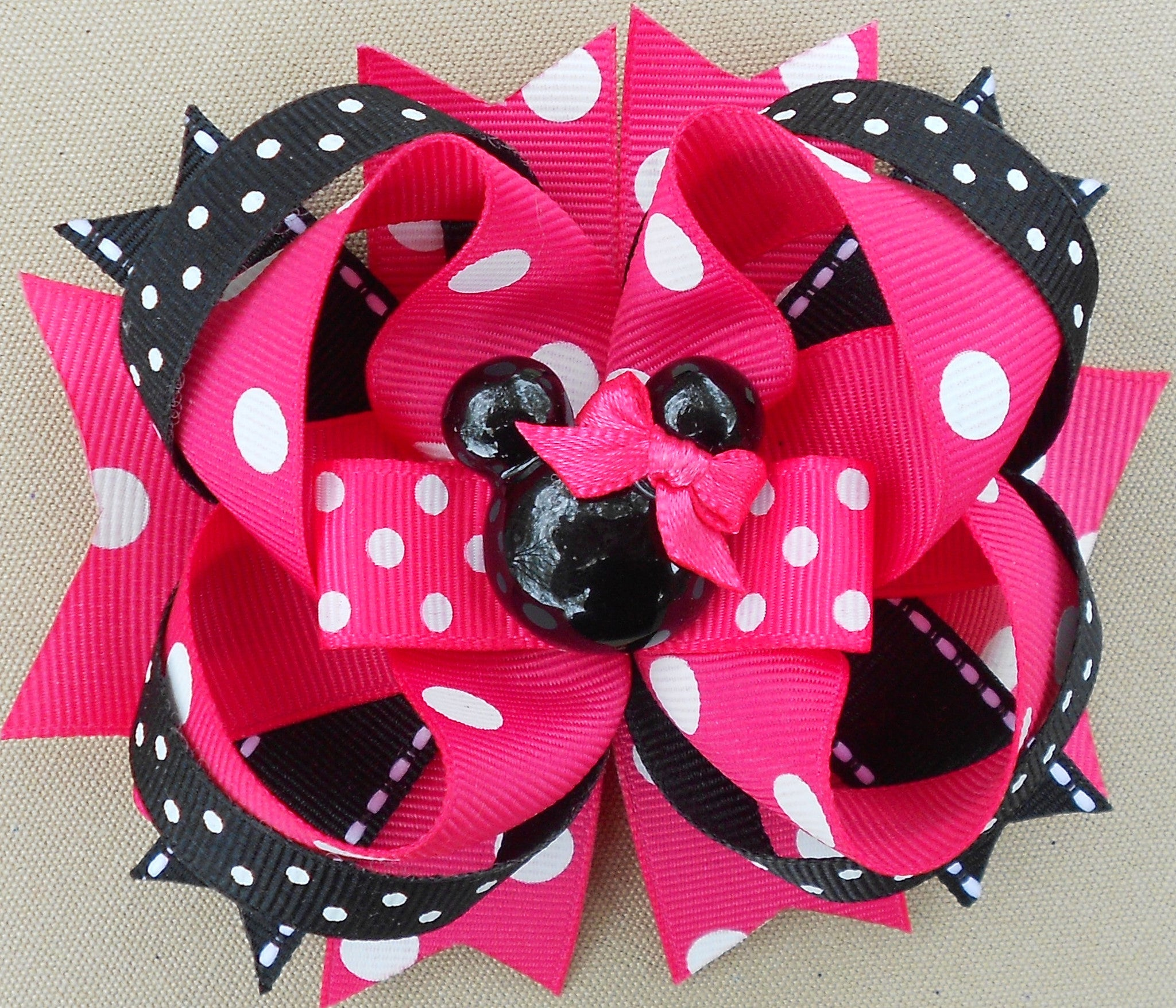 Bright Pink Minnie Mouse Hair Bow