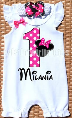 Minnie Mouse First Birthday Romper