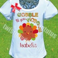 Girls Thanksgiving Shirt Gobble til you Wobble