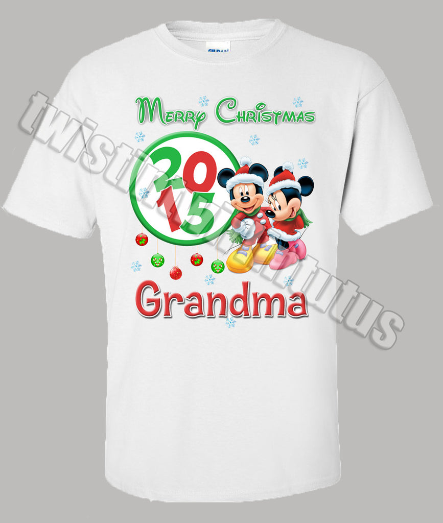 Adult Mickey and Minnie Mouse Christmas Shirt Personalized