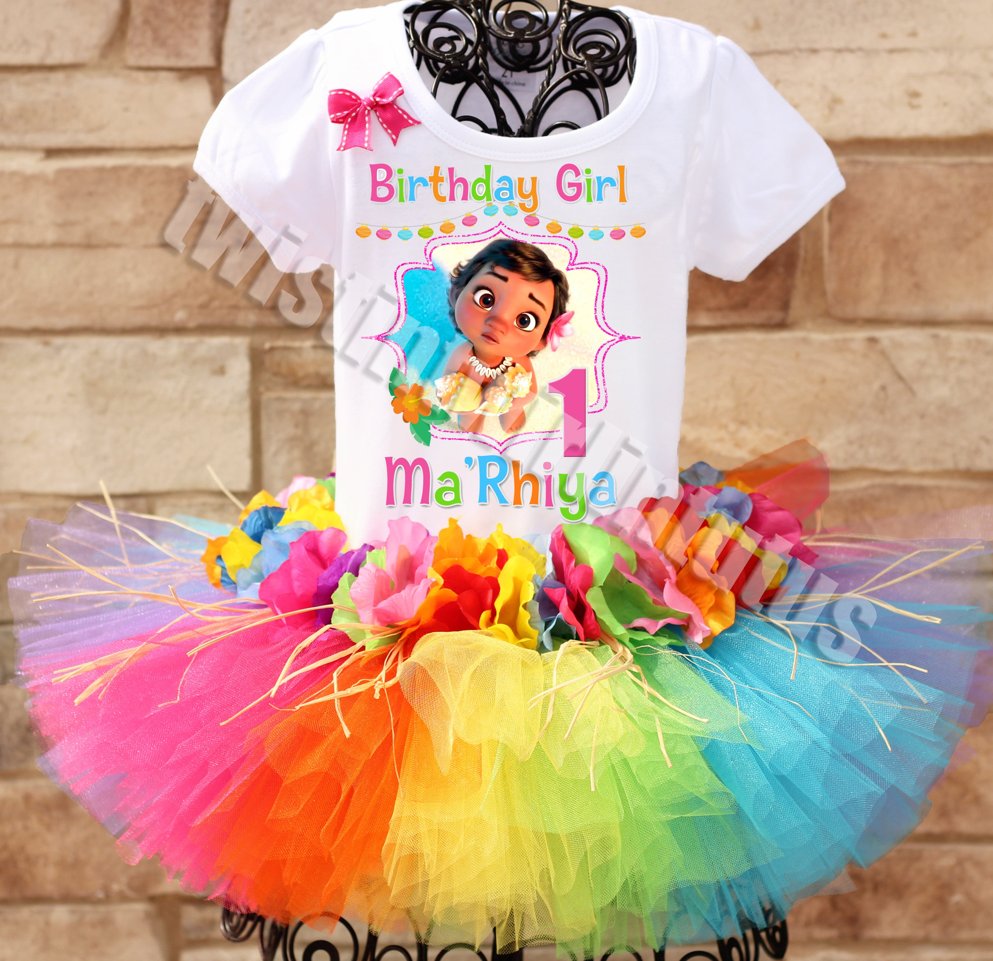Moana Tutu 2nd Birthday Dress Name Personalized Outfit Custom Family Matching Shirt Age Name Baby Girl Toddler 1st,2nd,3rd,4th,5th,6th,7th.