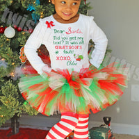 Girls Christmas Tutu Outfit Letter to Santa
